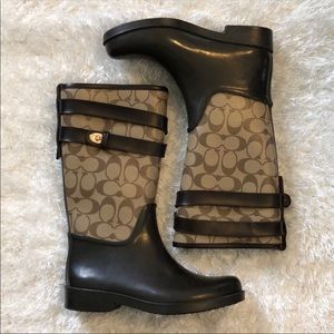 👢Brown Coach rain boots👢